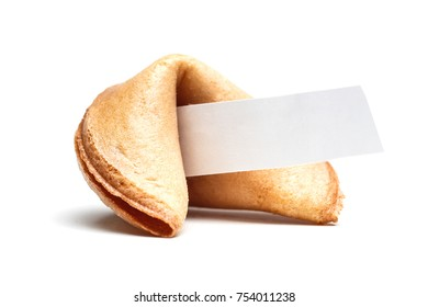 Picture of one Chinese cookie with wish on empty white background. Blank paper for text