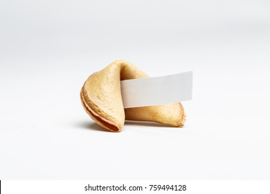 Picture of one Chinese cookie with wish on empty background.