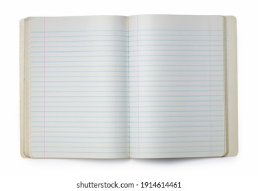 Picture of opened blank copybook on white background.