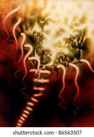 picture painted by me named glueless, it shows a abstract symbolic scenery of a opening seam in hot glowing ambiance