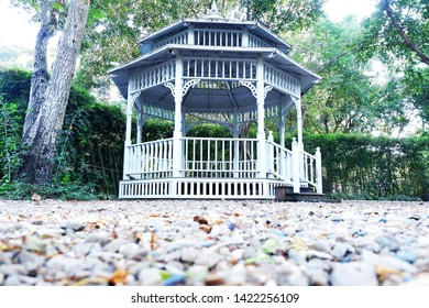 Picture of patio beautiful balcony vintage designed style decorative comfortably to luxury terrace gazebo with blurred foreground copy space - center image