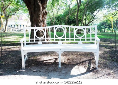 Picture of patio beautiful white chair vintage designed style decorative garden under the green trees comfortably to luxury terrace gazebo - copy space center image