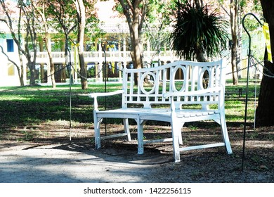 Picture of patio beautiful white chair vintage designed style decorative garden under the green trees comfortably to luxury terrace gazebo - diagonal layout copy space image