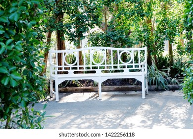 Picture of patio beautiful white chair vintage designed style decorative garden under the green trees comfortably to luxury terrace gazebo copy space - center image