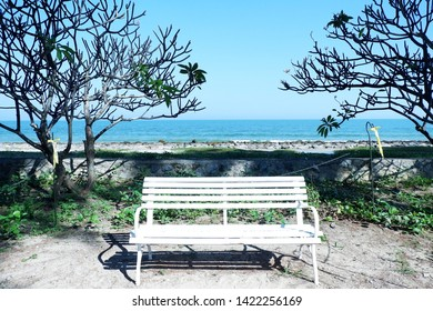 Picture of patio beautiful white chair vintage designed style decorative garden under the green trees deep blue sea background luxury terrace gazebo - closeup center image copy space