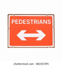 A picture of Pedestrians sign for road works vintage