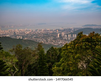 picture of Penang City from the Penang hill with the big trees in the foreground, Malaysia