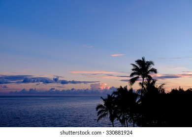 A picture perfect Florida Keys Sunrise with silhouetted palm trees from the top of the old seven mile bridge