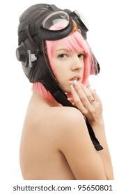 picture of pink hair girl in aviator helmet