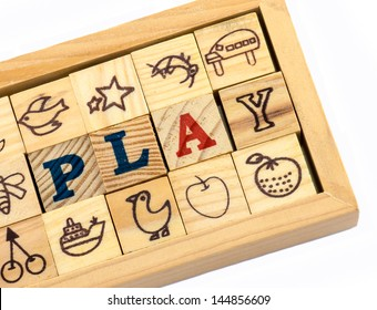 Picture of Play wording that make from wooden toy