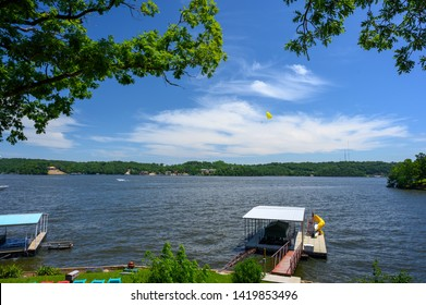Picture from the porch of a lake house at the Lake of the Ozarks in Missouri