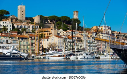 Picture of port of Cannes old city at the French Riviera, France
