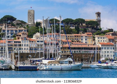 Picture of port of Cannes old city at the French Riviera, France, Europe