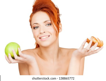 picture of pretty woman with apple and cake