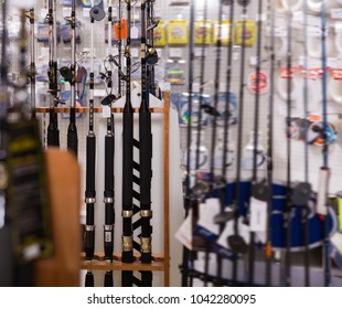 Picture of quality fishing rods for fishing in the sports shop