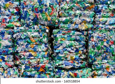 picture of recycled plastic pressed to bales