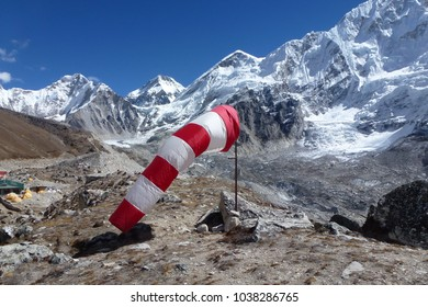 Picture of a red and white windsock in Gorak Shep, Everest Base Camp trek, Nepal