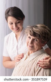 Picture of rest home resident and professional carer