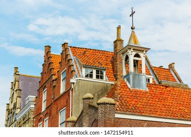 picture of roofs of historic houses in the medieval town of Veere, Netherlands