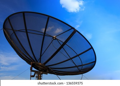 Picture of Satellite dish and blue sky.
