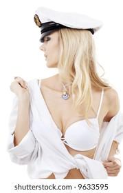 picture of sensual blonde in sailor cap over white