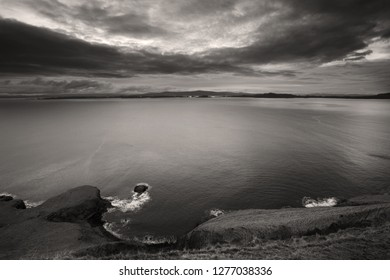 A picture in sepia of Scotland's Sound of Raasay from Isle of Skye, in the Hebrides