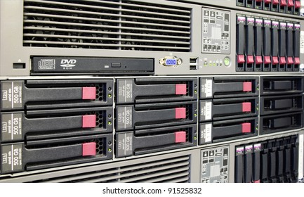 Picture of server rack in action. Server room.