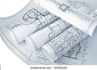 A picture of several design drawings which depict engineering solutions/Project drawings