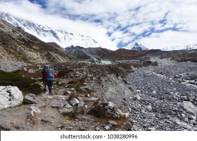 Picture of a sherpa on his way to Island Peak in Chukkung, Everest Base Camp trek, Nepal