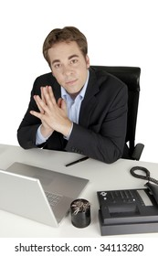 Picture showing young businessman being surprised