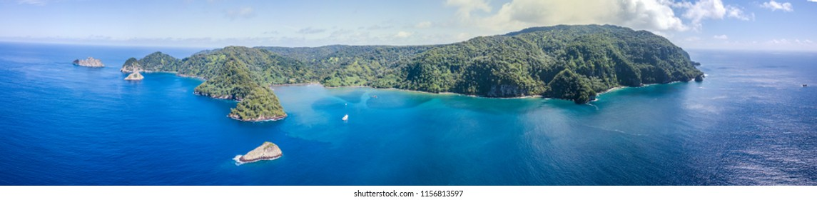 Picture shows a Drone view on Cocos Island