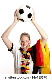 Picture shows a German Football Fangirl. Studio light with white background