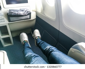 Picture shows the place for legs in the business class of the airplane. Great for long flights as the space is very big.