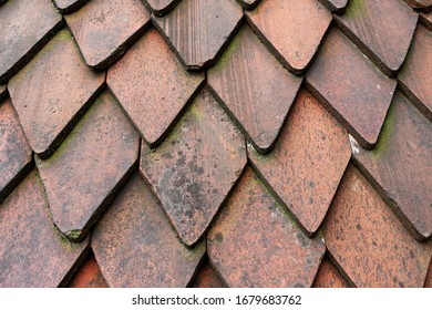 The picture shows weathered wooden roof shingles