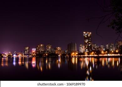 Picture of the skyline of Suburban Mumbai. Captured this shot from powai lake