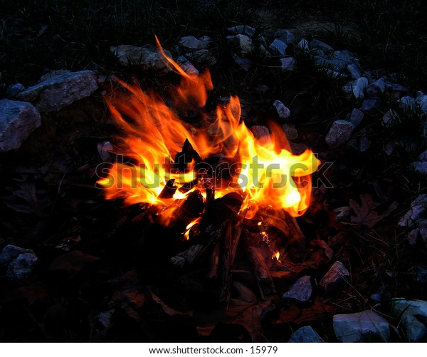 a picture of a small campfire