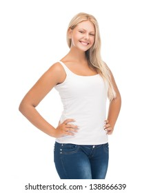 picture of smiling teenager girl in blank white t-shirt