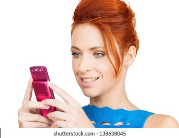 picture of smiling woman with cell phone