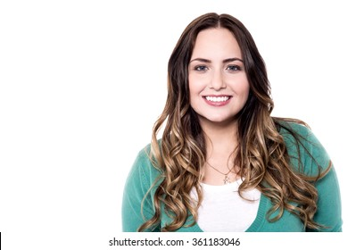 Picture of a smiling woman isolated on white