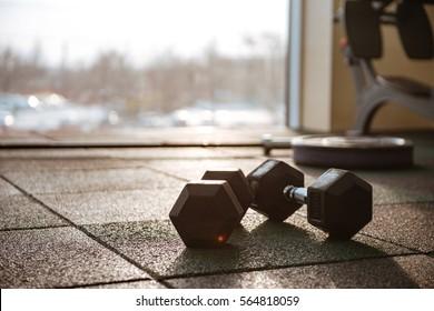 Picture of sport equipment in gym. Dumbbells on floor.