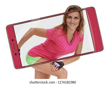 picture of sporty woman posing on white background. conceptual collage with device
