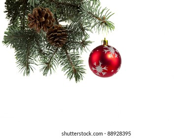 Picture of spruce twigs decorated with a  ball