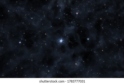 A picture of the star Polaris and faint nebulae of Milky Way galaxy