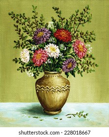 Picture, still-life, bouquet asters in a clay vintage amphora. Hand draw oil paintings on a canvas