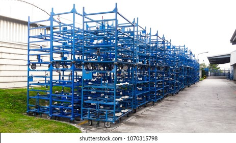 The picture of stock rack to enter the production line in each day in the industrial estate in thailand