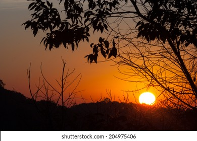 The picture of sunrise at the north of Thailand.