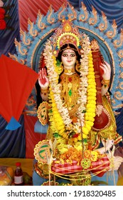 Picture taken on 16th. February 2021 at 11:02 am. from a puja mandapa Kolkata India. Photo shows the portrait of Goddess idol on the occasion of Saraswati puja.