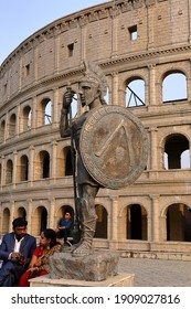 Picture taken on 31st. January 2021 at 15:41 pm. from a famous park in Kolkata India. Photo shows a model of Colosseum in Roam as the sights of the park.
