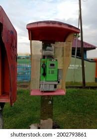 Picture taken on 6 July 2021 in Seberang Prai Penang Malaysia. An iconic telephone booth in Malaysia.