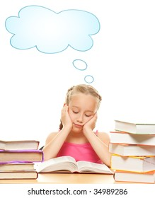 Picture of a thinking schoolgirl